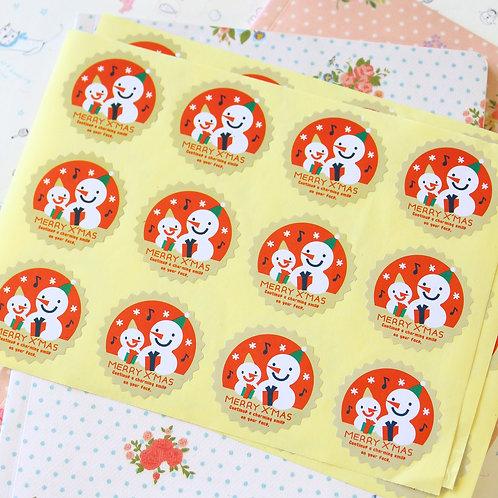 snowman merry xmas cartoon sticker seals