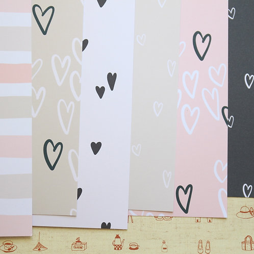 set 01 simple hearts mix printed card stock