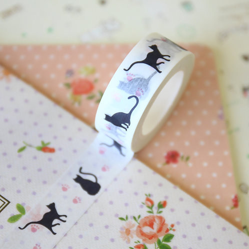 black cats cartoon series washi tapes ver 02