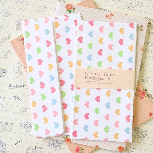 pastel hearts natural pattern envelopes