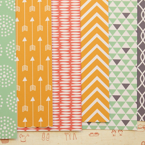 set 02 coral yellow mint mix patterns printed card stock