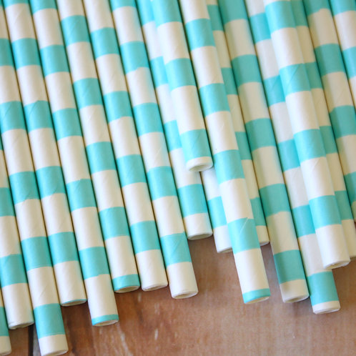 light blue circle stripe paper straws