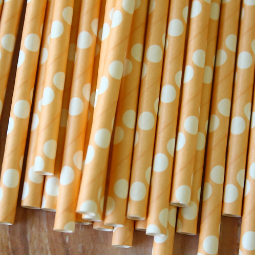 solid peach big dots paper straws