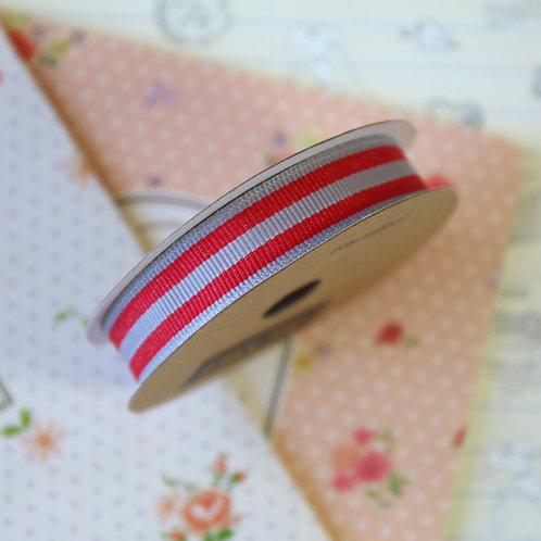 jane means slate grey & red stripe grosgrain ribbon