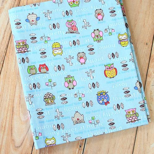 owls blue cartoon cotton fabric