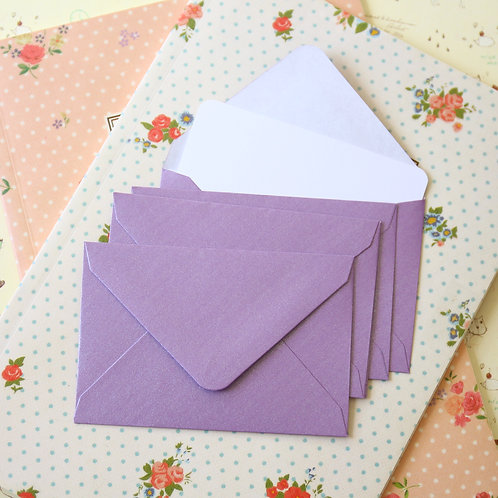 lavender purple pearlescent mini envelopes & notecards