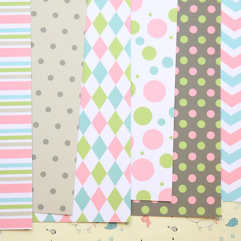 set 02 pink blue green and brown mix printed card stock