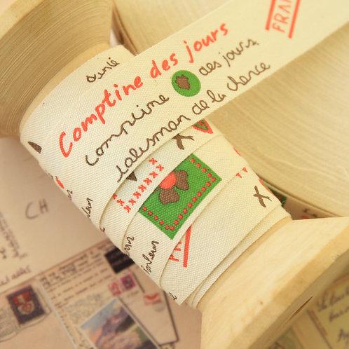 comptine des jours cartoon cotton sewing tape ribbon