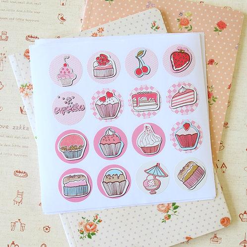 cupcakes cartoon sticker seals
