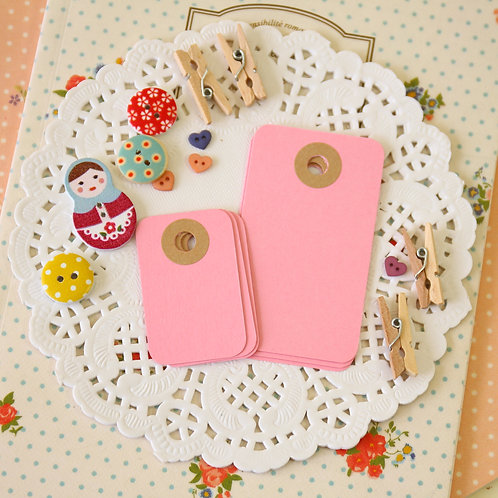 pastel pink rounded rectangle tags