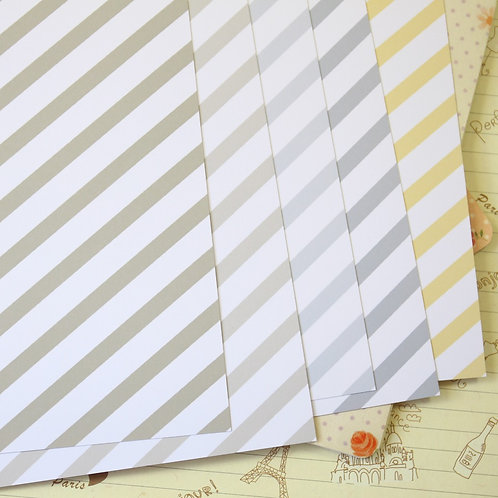 set 01 pastel stripes mix printed card stock