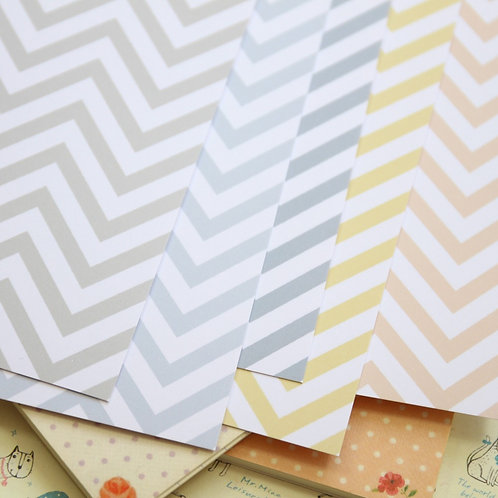 set 01 pastel chevron mix printed card stock
