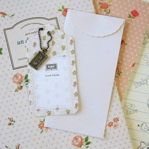 cassette tape charm and scallop gift tag