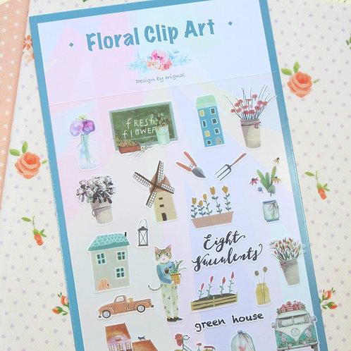 original floral clip art cartoon stickers