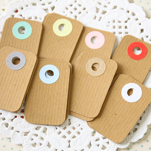 rippled kraft brown rounded rectangle tags