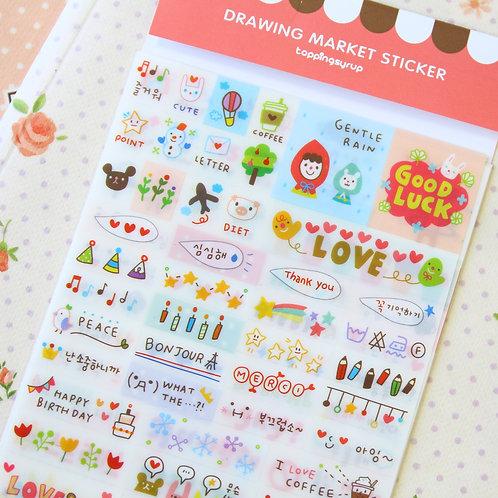 drawing market cartoon stickers