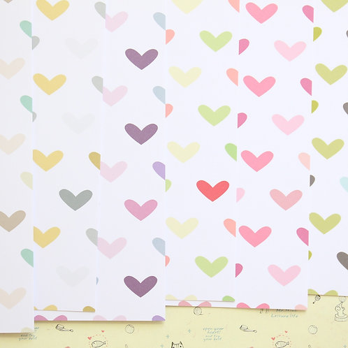 set 03 multi colored hearts printed card stock