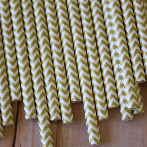 metallic gold chevron paper straws