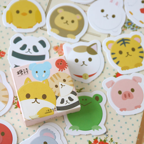 round animals candy poetry cartoon cute shapes stickers