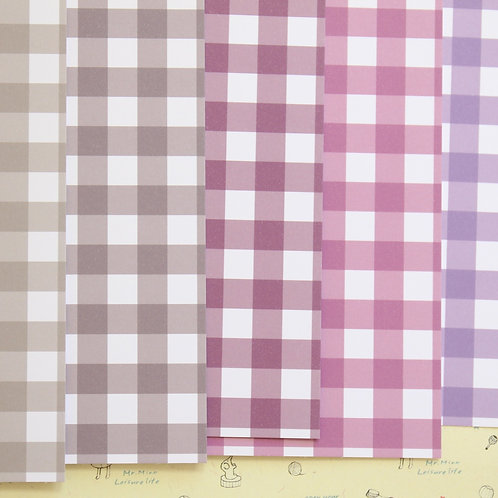 set 02 colorful gingham mix printed card stock