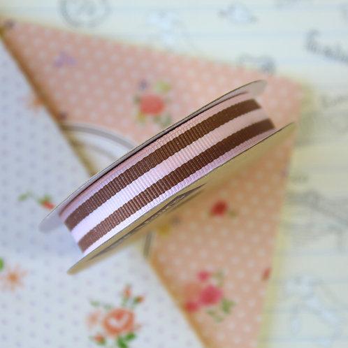 jane means pink & brown stripe grosgrain ribbon