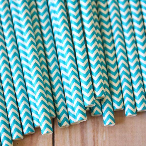 dark aqua chevron paper straws