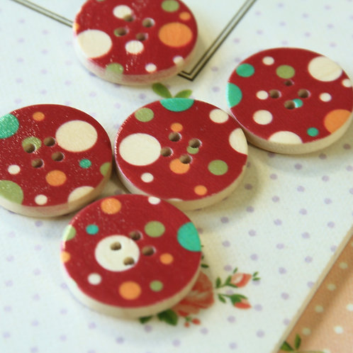 burgundy red polka dot printed wooden buttons