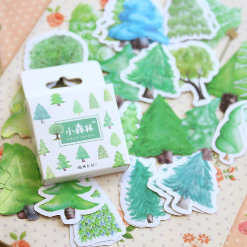 small forest cartoon shapes stickers