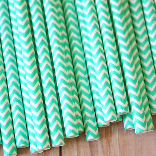 light aqua chevron paper straws