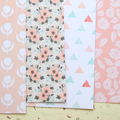 set 04 peach mint mix cartoon printed card stock