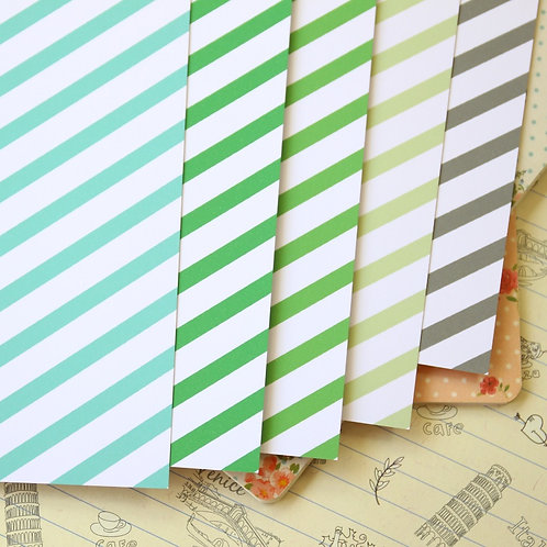 green mix stripes printed card stock