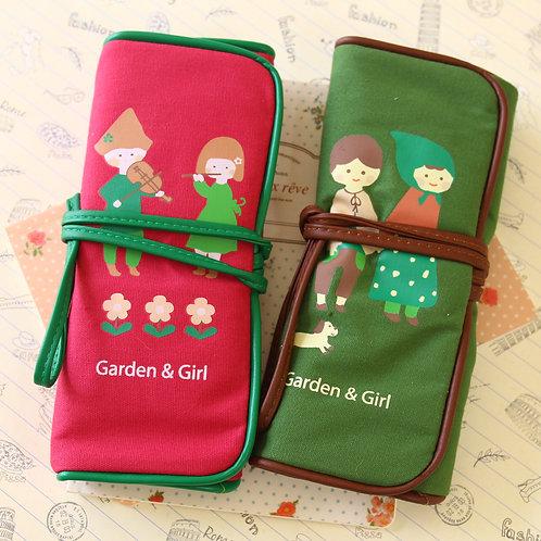 garden girl cartoon rolling pen bag