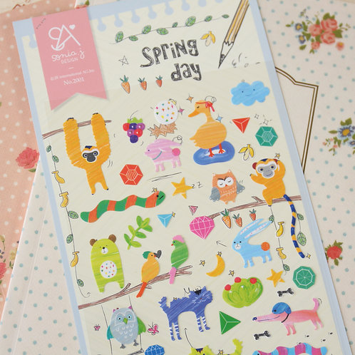 sonia spring day cartoon stickers
