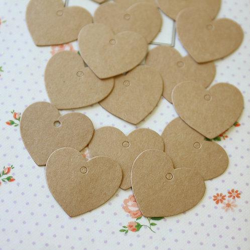 mini heart kraft brown tags