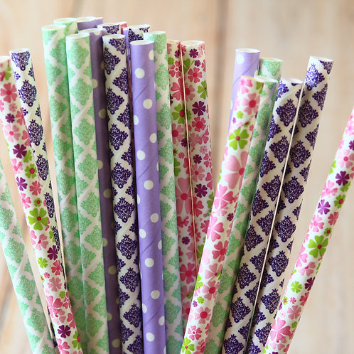 english garden floral mix paper straws