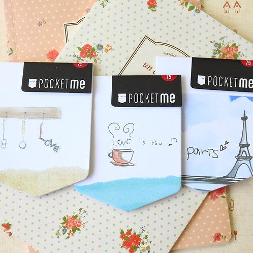 pocket me cartoon sticky notes with pocket
