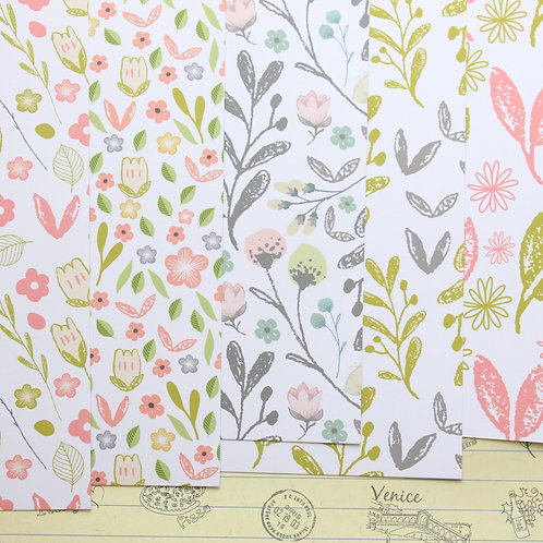 set 02 floral paper pack mix printed card stock
