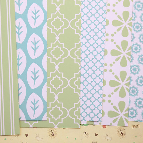set 02 blue green geometrics mix printed card stock
