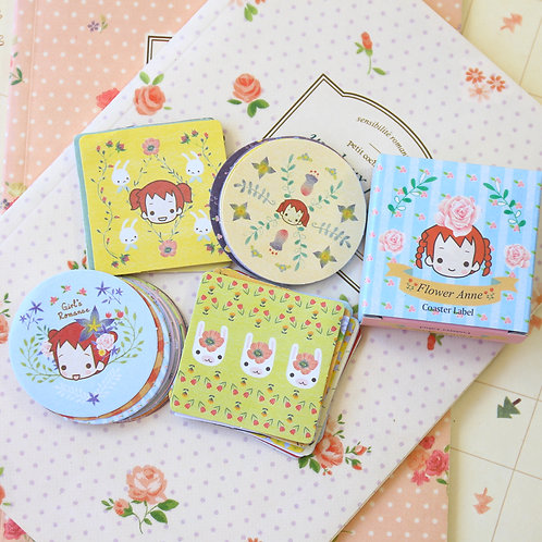 flower anne cartoon coaster label stickers
