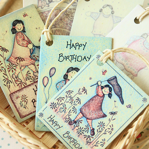 east of india printed birthday well wishes gift tags