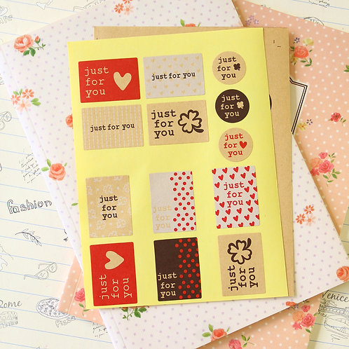 just for you kraft brown mini sticker seals