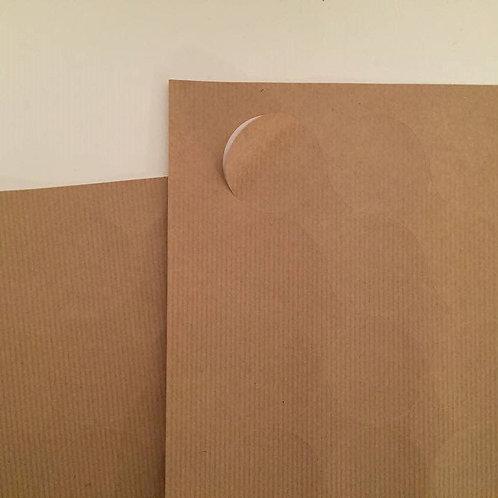 37mm round ribbed kraft paper sticker label sheets