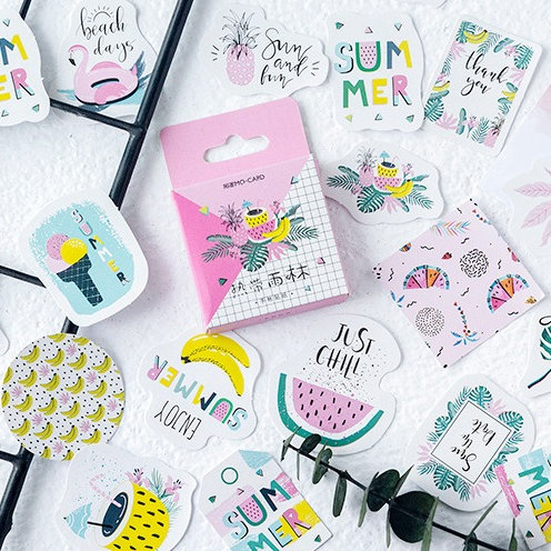 enjoy summer cartoon shapes stickers