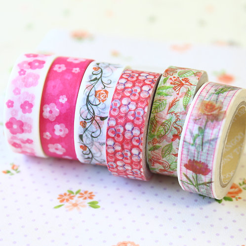 floral & nature pattern washi tape