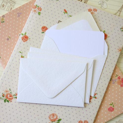 hammered white colour mini envelopes & note cards