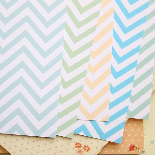 set 04 pastel chevron mix printed card stock