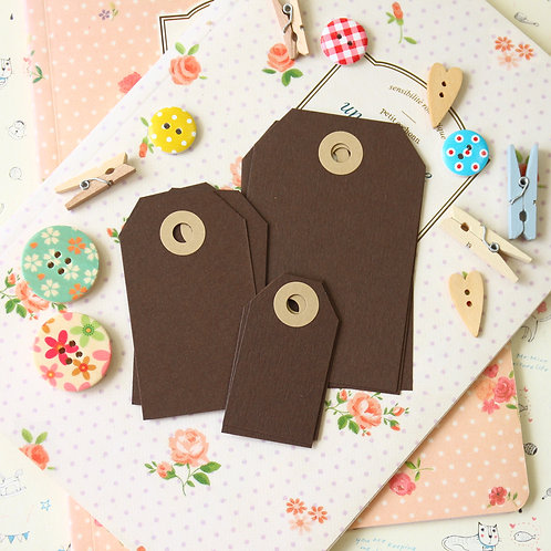 mocha brown papermill series luggage gift tags