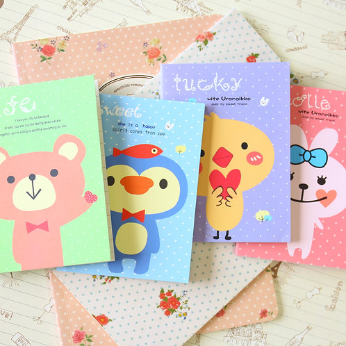 hello animals mini cartoon notebook