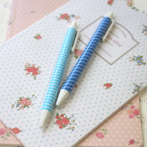 pure life blue stripe deco clicker pens
