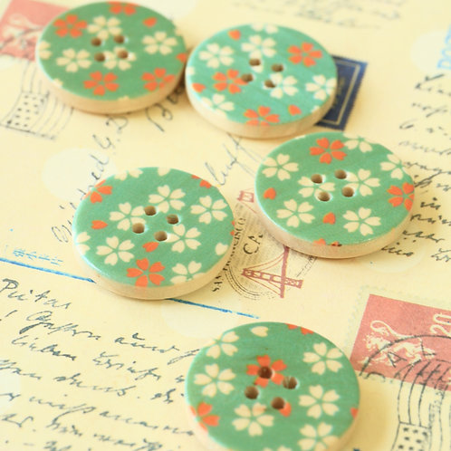 green flowers printed wooden buttons